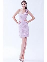 gaine / colonne un épaule courte / mini mousseline demoiselle d'honneur robe avec fleur (s) par xfls