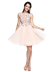 A-Line Bateau Neck Knee Length Tulle Cocktail Party Homecoming Prom Dress with Appliques Bow(s) Flower(s) Sash / Ribbon by TS Couture®