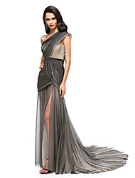 cheap -Sheath / Column One Shoulder Court Train Tulle Formal Evening / Holiday Dress with Criss Cross Split Front Side Draping by TS Couture®