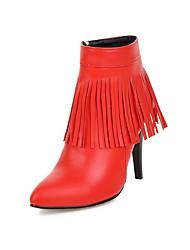 Women's Boots Spring Fall Winter Comfort PU Wedding Dress Party & Evening Stiletto Heel Zipper Tassel White Black Gray Red Walking