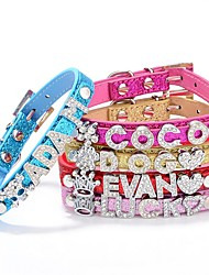 Cat / Dog Collar Adjustable/Retractable / Studded Rhinestone / Characters Red / Blue / Pink / Gold / Rose PU Leather
