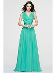 cheap -A-Line V-neck Floor Length Chiffon Bridesmaid Dress with Side Draping by LAN TING BRIDE®