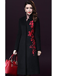 Cappotto Da donna Casual Taglie forti Inverno Semplice,Ricamato Lana Rosso Nero Manica lunga Spesso