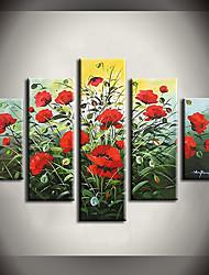 Pintados à mão Abstrato Floral/Botânico Qualquer Forma,Moderno Pastoril 5 Painéis Tela Pintura a Óleo For Decoração para casa