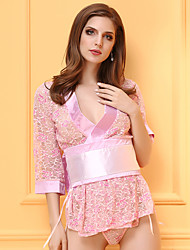 Ultra Sexy Vêtement de nuit Femme,Dentelle Mosaïque-Mince Dentelle Polyester Rose