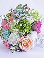 abordables -Fleurs de mariage Rond Roses Bouquets Mariage La Fête / soirée Satin Fleur séchée