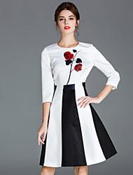 Trapèze Robe Femme Décontracté / Quotidien simple,Fleur Col Arrondi Au dessus du genou Manches ¾ Blanc Polyester Printemps / Automne