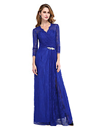 cheap -Sheath / Column V-neck Floor Length Lace Mother of the Bride Dress with Crystal Detailing Split Front Criss Cross by LAN TING BRIDE®