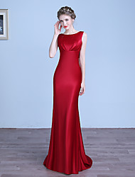cheap -Sheath / Column Jewel Neck Floor Length Stretch Satin Formal Evening Dress with Pleats by LAN TING Express