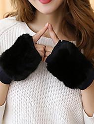 Women's Rabbit Fur Wrist Length Half Finger,Casual Solid Winter