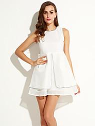 Trapèze Robe Aux femmes Soirée simple,Couleur Pleine Col Arrondi Mini Sans Manches Blanc Coton / Polyester Eté