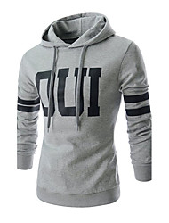 Men's Plus Size Daily Casual Active Hoodie Striped Letter Round Neck Micro-elastic Cotton Long Sleeve Winter Fall
