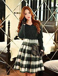 DABUWAWA Women's Swing Color Block SkirtsGoing out / Casual/Daily / Work Vintage / Cute / Street chic High Rise Knee-length Zipper