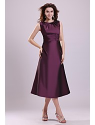 cheap -A-Line Jewel Neck Tea Length Taffeta Mother of the Bride Dress with Beading by LAN TING Express