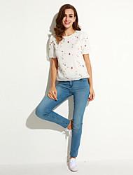cheap -Women's Casual Micro Elastic Short Sleeve Regular T-shirt (Cotton)
