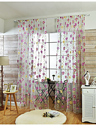 Rod Pocket One Panel Curtain Country , Applique Flower Living Room Linen/Polyester Blend Material Sheer Curtains Shades Home Decoration