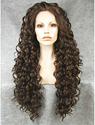 cheap -IMSTYLE 26''Popular Beautiful Dark Brown Long Curly Synthetic Lace Front Wigs Heat Resistant