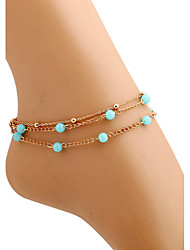 Beach Style Multilayers Blue Beads Chain Anklets