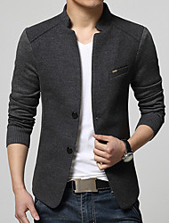 cheap -Men's Daily Business Casual Street chic Spring Fall Plus Size Regular Blazer, Solid Stand Cotton Acrylic Polyester