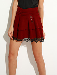 cheap -Women's Solid Red  Black Skirts,Simple  Cute Above Knee Plus Size