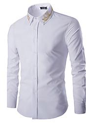 お買い得  -男性用 シャツ スタンドカラー ソリッド コットン
