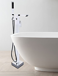 Contemporary Floor Standing Waterfall Bath Tub Shower Faucet / Single Handle / Chrome / Brass Hand Shower Included