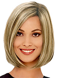 Women Synthetic Wig Capless Short Kinky Straight Golden Blonde Highlighted/Balayage Hair Bob Haircut Natural Wig Costume Wigs