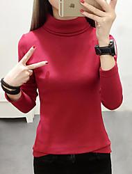 Feminino Camiseta Casual Simples Outono,Sólido Azul / Vermelho / Branco / Preto / Cinza / Verde Algodão Gola Alta Manga Longa