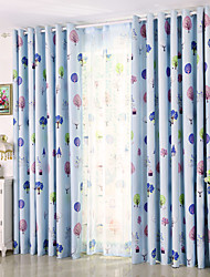 Grommet Top One Panel Curtain Modern Print Leaf Kids Room Poly Cotton Blend Material Blackout Curtains Drapes Home Decoration