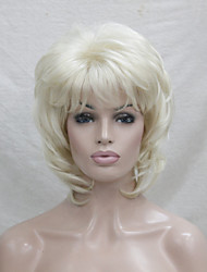 New Blonde With Off Black Mix Blonde  Root Medium Length Cascaded Layers Synthetic Hair  Women's Full Wig