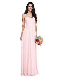 cheap -Sheath / Column Spaghetti Straps Floor Length Lace Bridesmaid Dress with Pleats by LAN TING BRIDE®