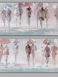 Pintados à mão Abstracto / Pessoas Pinturas a óleo,Modern / Clássico 2 Painéis Tela Hang-painted pintura a óleo For Decoração para casa
