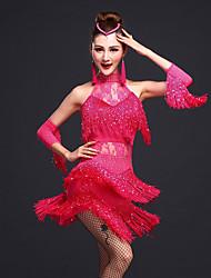 Latin Dance Dresses Women's Training Rayon / Spandex Beading / Lace / Tassel Sleeveless Natural Dress / Bracelets