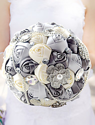 Grey Wedding Bouquet Bridal Silk Holder Flower Pretty Pearls Ornaments Bridal Bouquet With Ribbon