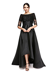 cheap -A-Line Off Shoulder Asymmetrical Satin Formal Evening Dress with Lace by TS Couture®