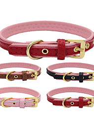 cheap -Dog Collar Adjustable / Retractable Handmade Casual Solid PU Leather Genuine Leather Black Brown Red Pink