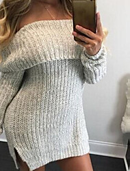 Women's Off The Shoulder Casual/Daily Sexy Cute Regular Pullover,Solid Gray Boat Neck Long Sleeve Acrylic Fall Winter Medium Micro-elastic