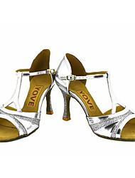 Feminino Latina Salsa Glitter Sandália Salto Profissional Apresentação Fivela Fita Salto Personalizado Dourado Preto Prateado