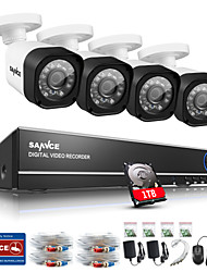 Sistema sannce® cctv 4ch pieno 720p AHD dvr 4pcs 1.0MP all'aperto videocamera di sicurezza domestica CCTV video sorveglianza kit di 1TB HDD