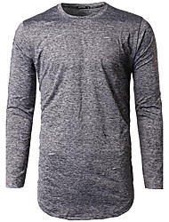 Men's Casual Simple Spring / Autumn T-shirtSolid / Print Round Neck Long Sleeve Cotton Medium Hot Sale     High Quality Brand Fashion