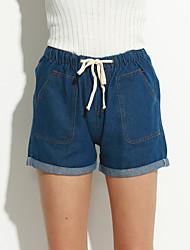 preiswerte -Damen Freizeit Mittlere Hüfthöhe Unelastisch Jeans Hose, Polyester Sommer Solide