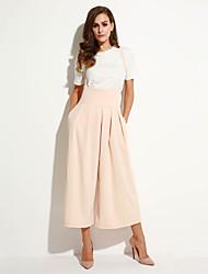 abordables -Mujer Moderno Corte Ancho Perneras anchas Pantalones - Un Color Color sólido