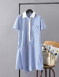 Ample Robe Femme Décontracté / Quotidien simple,Rayé Col de Chemise Au dessus du genou Manches Courtes Coton Eté Taille Normale