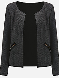 cheap -Women's Simple Casual Plus Size Jacket-Solid Colored