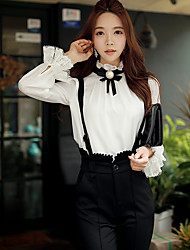 DABUWAWA Women's Going out / Casual/Daily / Party/Cocktail Vintage / Cute / Sophisticated Spring / Fall ShirtSolid Stand Long Sleeve White Blouse