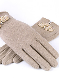 Women's Wool Wrist Length Fingertips,Casual Solid Winter