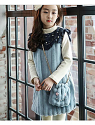 cheap -Girl's Daily Solid Dress, Cotton Winter Long Sleeves Blue Pink