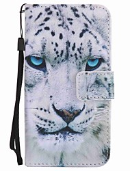 cheap -For Motorola MOTO G4 Play G4 Case Cover White Leopard Painted Lanyard PU Phone Case
