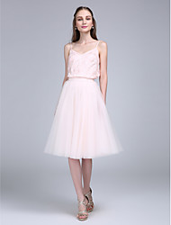 A-Line Spaghetti Straps Knee Length Lace Tulle Bridesmaid Dress with Lace by LAN TING BRIDE®