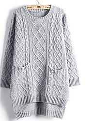 Standard Pullover Da donna-Casual Semplice / Romantico Tinta unita Beige / Grigio Rotonda Manica lunga Cotone Autunno / Inverno Spesso